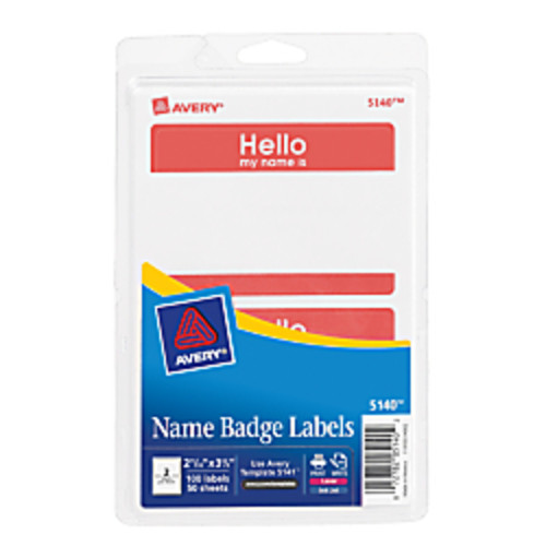 Avery Self-Adhesive Name Badges, Hello My Name Is, Red, Pack Of 100