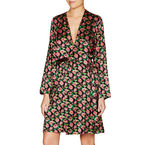STELLA MCCARTNEY Poppy Snoozing Silk-Blend Robe, Dark Audrey