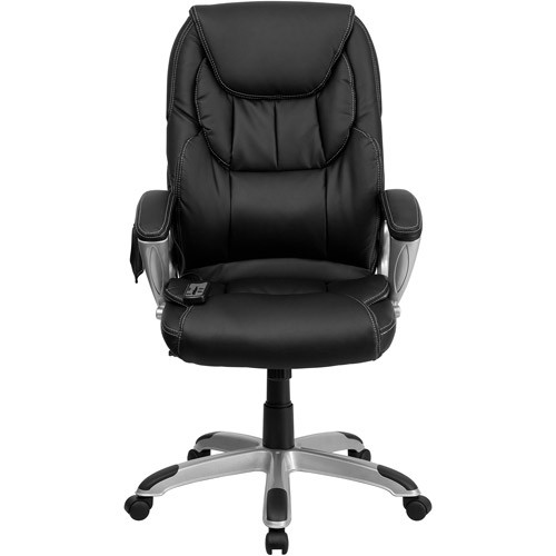 Flash Furniture High Back Massaging Black Leather Executive Swivel Chair with Silver Base and Arms [Black]