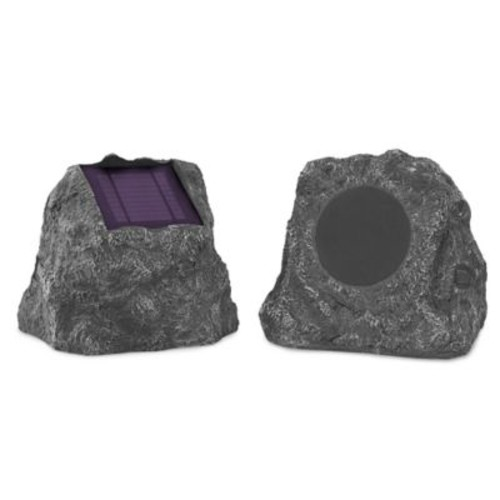 Innovative Technology Solar Charging Bluetooth Outdoor Rock Speakers (Set of 2)