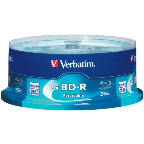 Verbatim BD-R 25GB 6X with Branded Surface - 25pk Spindle 97457 [25-Disc, 25GB]
