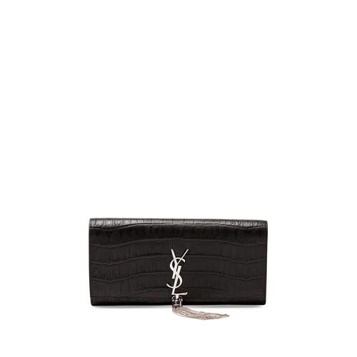 SAINT LAURENT Monogram Croc-Stamped Clutch Bag, Black