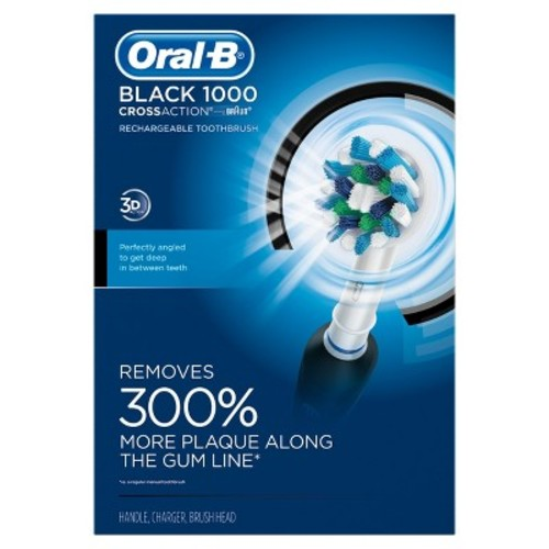 Oral-B BLACK 1000 Power Rechargeable Electric Toothbrush Powered by Braun