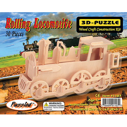 Puzzled Train 3D Jigsaw Puzzle (30-Piece), 9.5 x 3 x 5