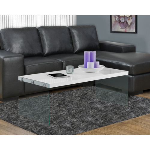 Monarch Specialties COFFEE TABLE - GLOSSY WHITE WITH TEMPERED GLASS