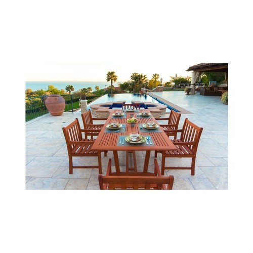 Malibu Eco-Friendly 7-Piece Wood Outdoor Dining Set with Rectangular Extension Table V232SET9