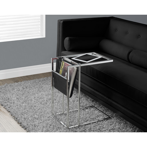 Monarch Specialties ACCENT TABLE - BLACK / CHROME METAL WITH A MAGAZINE RACK