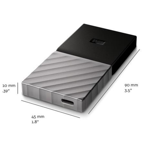 WD 256GB My Passport SSD, Portable External Solid State Drive, USB 3.1, Type C