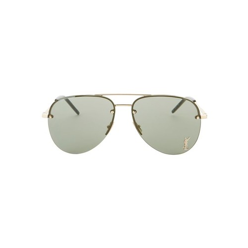 SAINT LAURENT Classic 11 Gold Logo Aviator Sunglasses