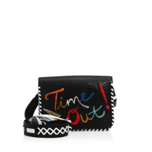ALICE + OLIVIA Kendal Embroidered Leather Shoulder Bag