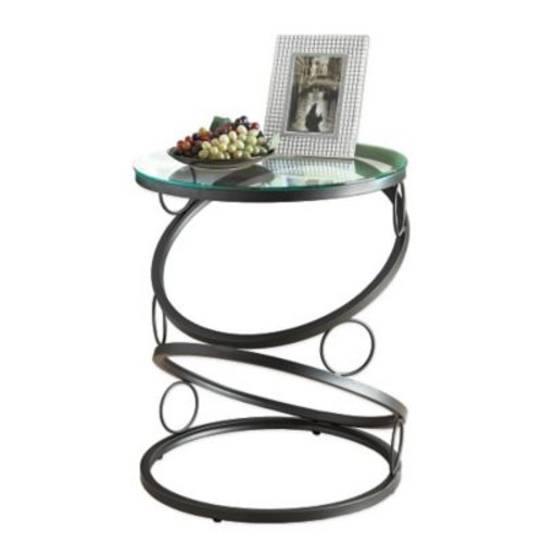 Monarch Metal Accent Table, Clear Glass, Each (I3317MSI)