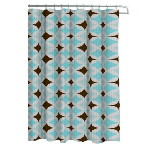 Creative Home Ideas Oxford Weave Textured 70 in. W x 72 in. L Shower Curtain with Metal Roller Hooks in Avatar Aqua