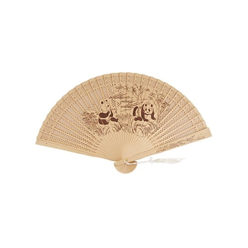 Global Bargains Panda Bamboo Printed Carved Wooden Folding Scented Fan