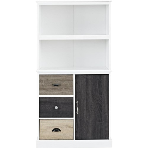 Ameriwood Home Newbridge White Storage Bookcase with Multicolored Door and Drawer Fronts