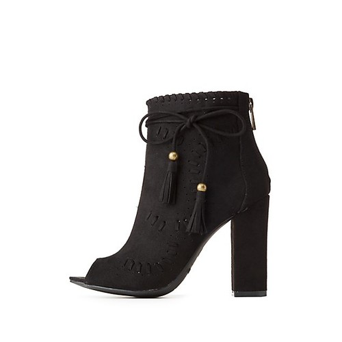 Bamboo Whip-Stitched Peep Toe Booties