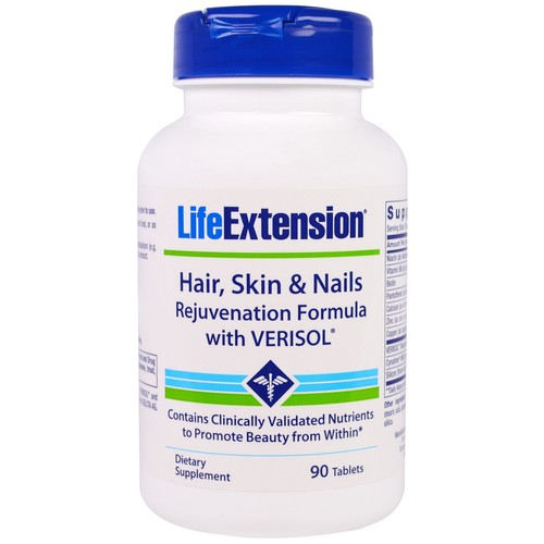 Life Extension Hair Skin & Nails Rejuvenation Formula with Verisol -- 90 Tablets