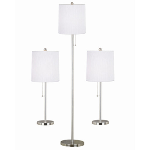 Elegant Designs Brushed Steel Table and Floor Lamp (Set of 3)