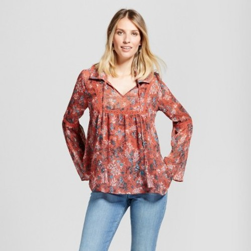 Women's Collared Sheer Print Top with Cami - Knox Rose