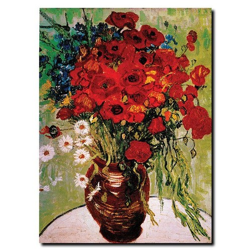 Trademark Global Vincent van Gogh 'Daisies & Poppies' Canvas Art [Overall Dimensions : 18x24]
