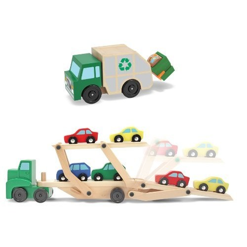 3 Item Bundle: Melissa and Doug 4096 Car Carrier and 4549 Garbage Truck + Activity Book