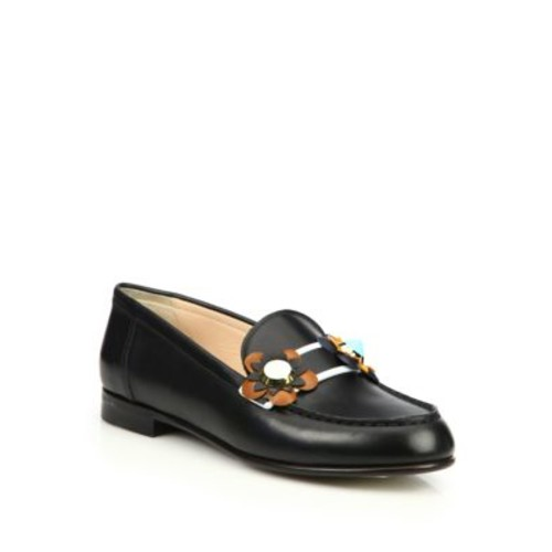 FENDI Flowerland Leather Loafers