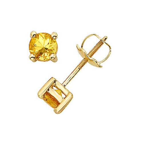 Round Yellow Sapphire 14K Gold Stud Earrings - JCPenney