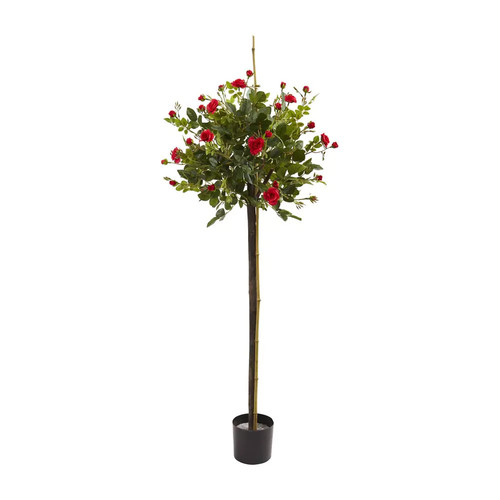 Nearly Natural 5465 3-ft Rose Topiary Silk Tree