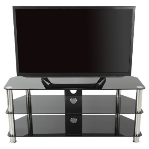 TV Stand with Cable Management - 55'- Silver & Black - AVF