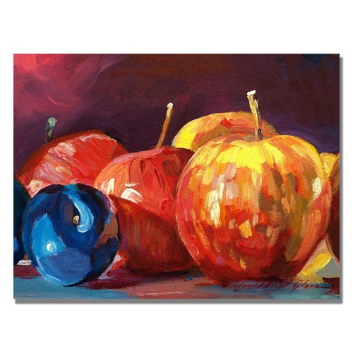 Trademark Global David Lloyd Glover 'Ripe Plums and Apples' Canvas Art [Overall Dimensions : 18x24]