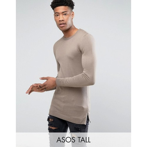 ASOS TALL Muscle Fit Longline Sweater With Side Zips In Oatmeal