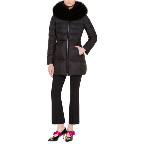 PRADA Puffer Coat W/Fox Fur Trim, Black