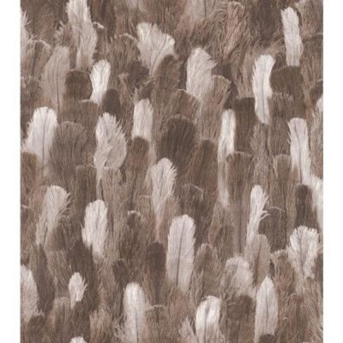 Washington Wallcoverings African Queen II Brown and White Ostrich Feather Print Vinyl Wall Paper