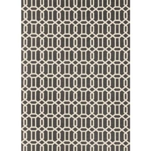 Ruggable Washable Fretwork Rich Grey 5 ft. x 7 ft. Stain Resistant Area Rug