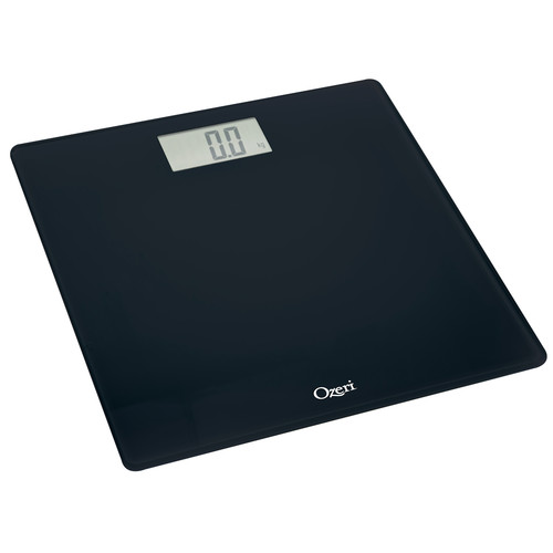 Ozeri Precision Digital Bath Scale (400 lbs Edition), in Tempered Glass with Step-on Activation, Black