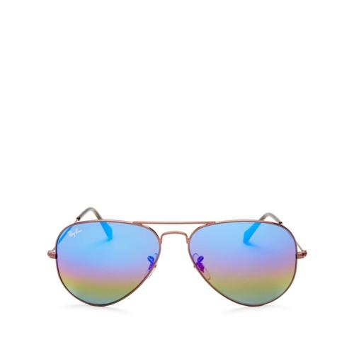 RAY-BAN Mirrored Aviator Sunglasses, 60Mm