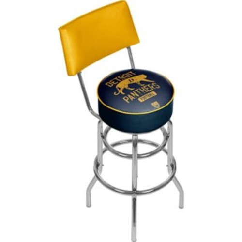 Trademark Global VAF VAF1100-DP Steel Padded Swivel Bar Stool with Back, Detroit Panthers