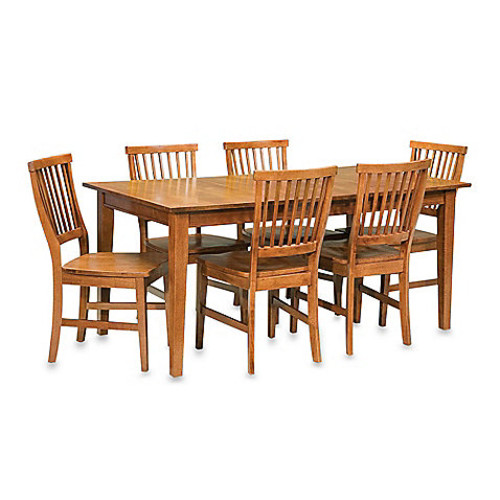 Home Styles Arts & Crafts 7-Piece Rectangular Dining Set in Oak [Finish : OAK]