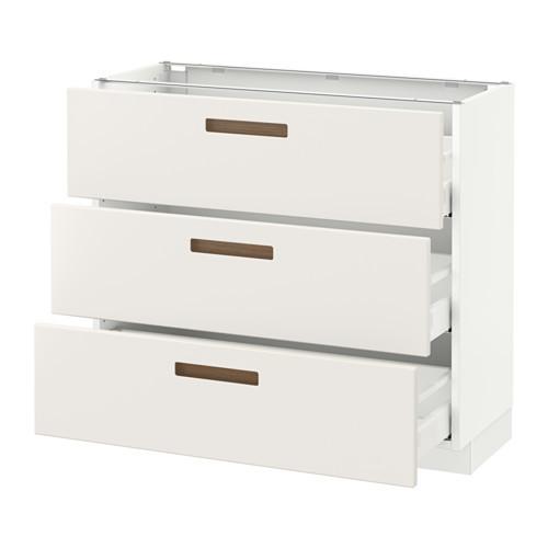 SEKTION Base cabinet with 3 drawers, brown Maximera, Grimslv medium brown