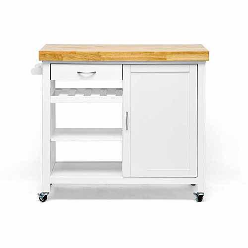 Baxton Studio Denver Modern Kitchen Cart/Island with Butcher Block Top, White [Natural, White]