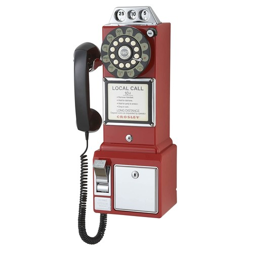 Crosley CR56-RE 1950's Payphone with Push Button Technology, Red [Red]