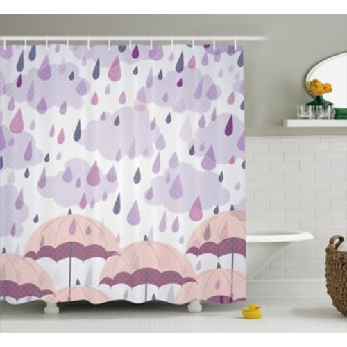 East Urban Home Umbrella and Raindrops Decor Shower Curtain; 69'' H x 70'' W
