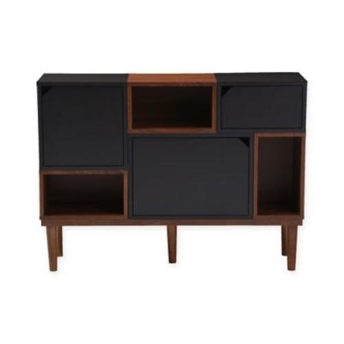 Baxton Studio Anderson Oak Sideboard Storage Cabinet in Dark Brown