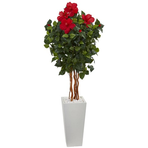 Nearly Natural 5 ft. Hibiscus Artificial Tree in White Tower Planter
