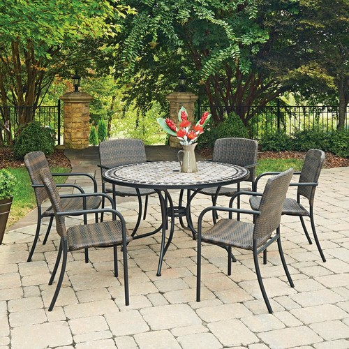 Home Styles Cottage 7-Piece Marble Outdoor Dining Set