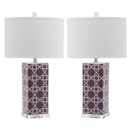 Safavieh Lighting Collection Quatrefoil Table Lamp, Light Purple, Set of 2 [Light Purple]