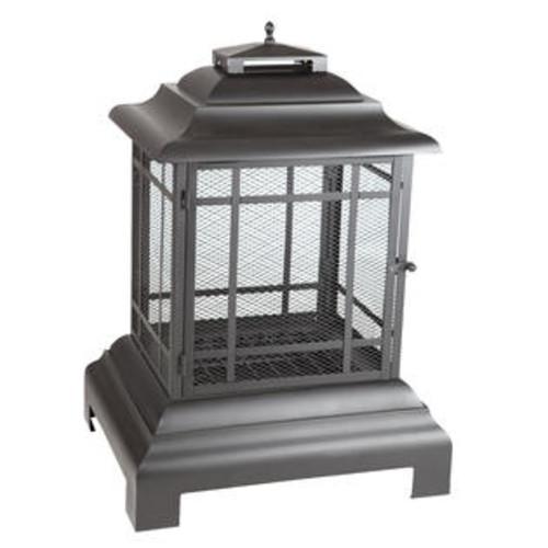 Fire Sense Black Powder Coated Steel Pagoda Patio Fireplace - 2679