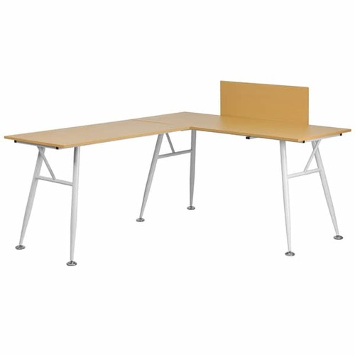 Bran L-shaped Beechwood Computer Desk with White Frame Finish