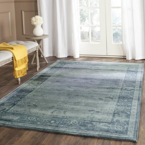 Safavieh Vintage Oriental Light Blue/ Dark Blue Distressed Silky Viscose Rug (5' 1 x 7' 6)