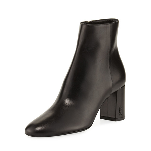 SAINT LAURENT Loulou Leather Block-Heel Boot