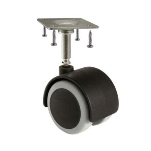SlipStick 2 in. Rubber Castor Wheels 2 in. Diameter Wheels, Black/Gray, Pack of 4.